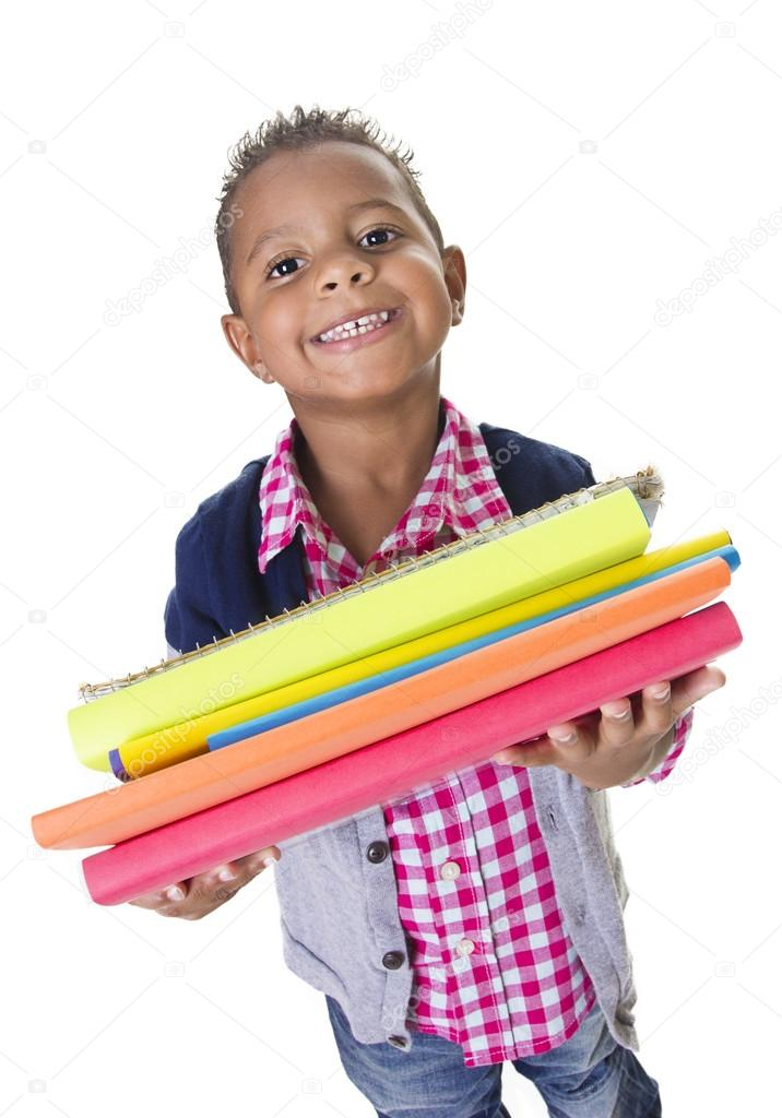 Cute Diverse little student carry school books
