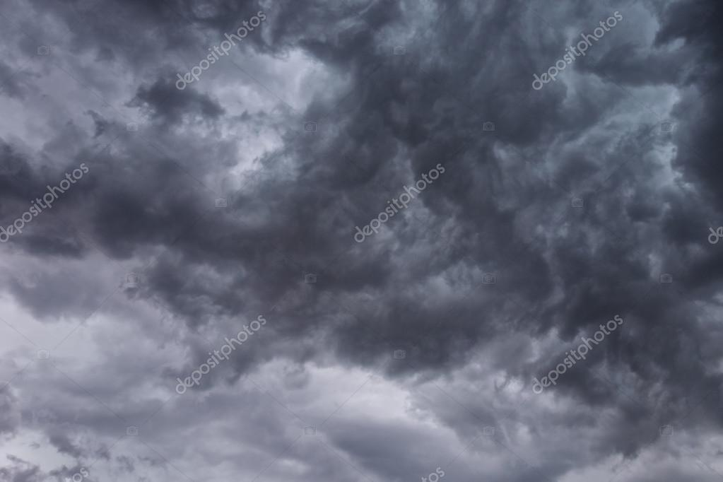 Cloudy stormy black and white sky