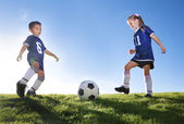 egy csapat fiatal focisták