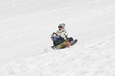 Snow sledding Crash stock vector