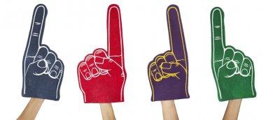 Sports fans. Foam fingers