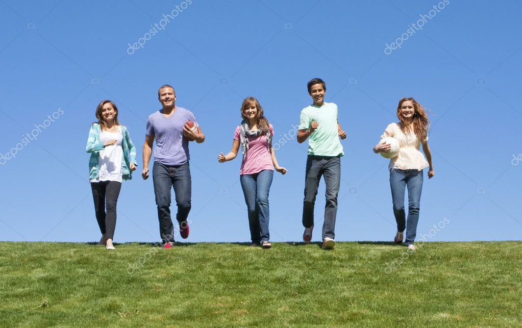 Young Adults Playing Outdoors