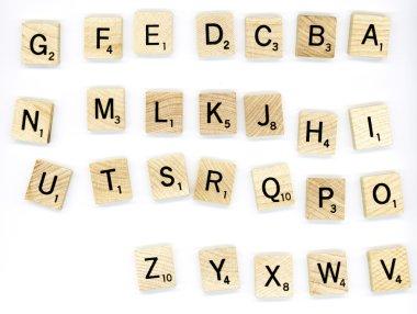 Scrabble wood letter blocks