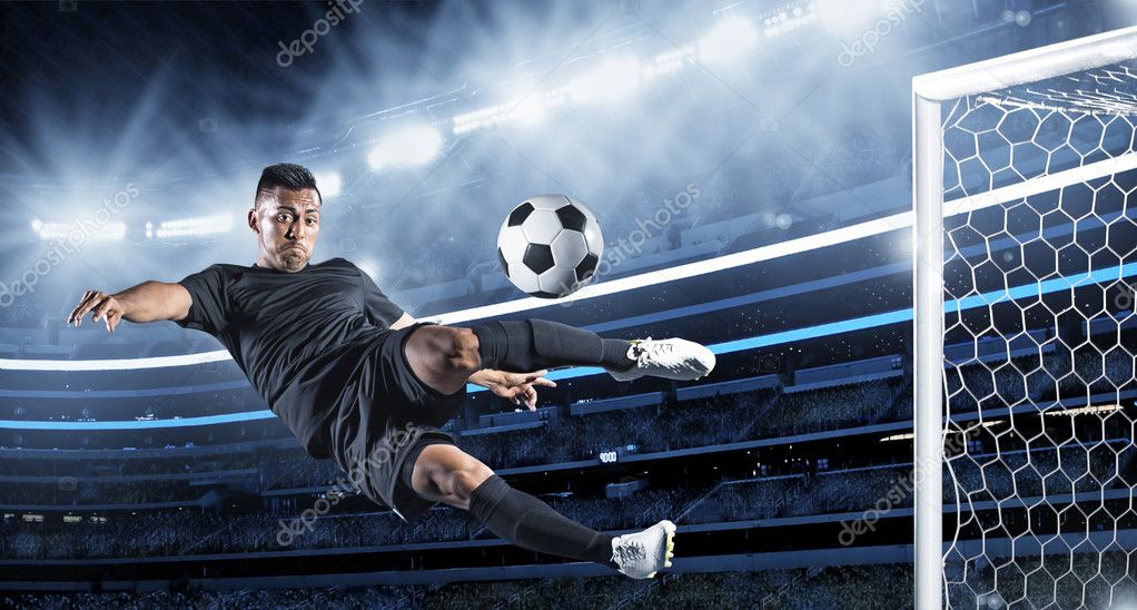 Hispanic Soccer Player kicking the ball