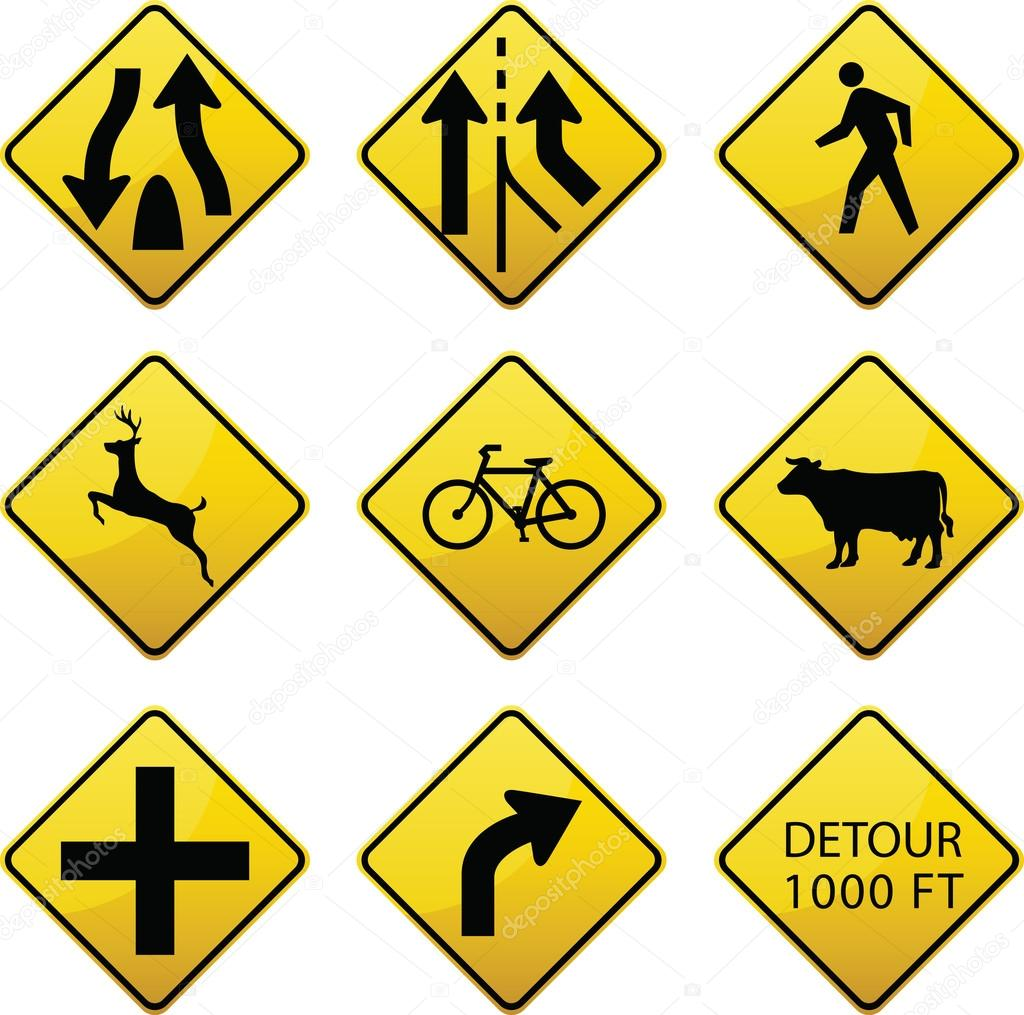 Warning traffic signs icons stock vector lkeskinen0 42424583 glossy warning signs icons diamond shaped traffic signs warn drivers of upcoming road conditions and hazards vector by lkeskinen0 biocorpaavc Choice Image