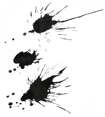 Set of various ink splatter