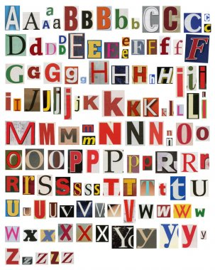 Colorful, newspaper, magazine alphabet