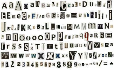 Newspaper, magazine alphabet with numbers and symbols