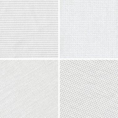Set of woven white fabric texture stock vector