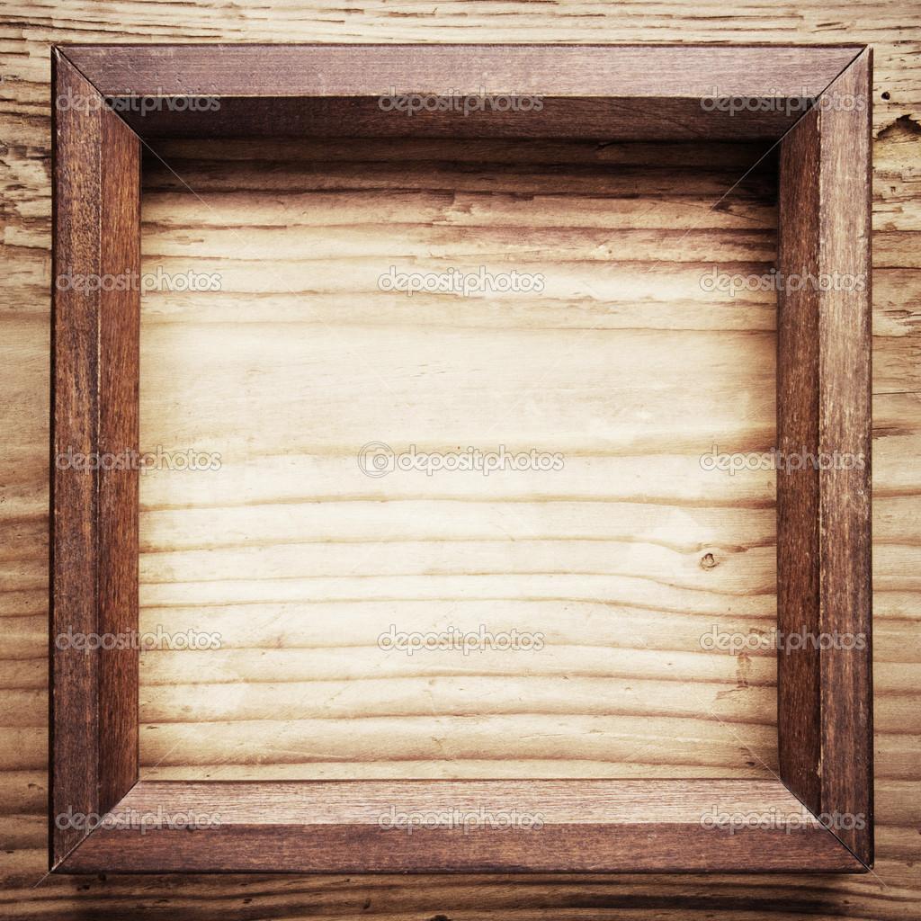 Marco de madera vintage sobre fondo de madera fotos de stock flas100 44654677 - Marcos de fotos vintage ...