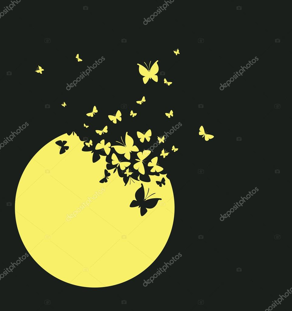 Moon and butterflies
