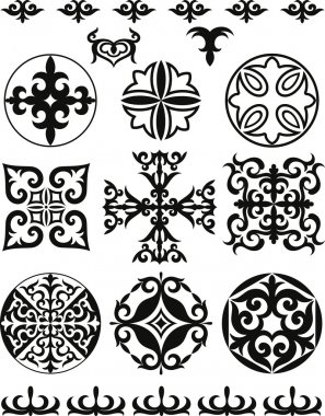 Set elements of ethnic ornament