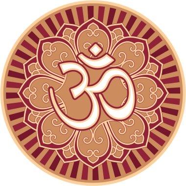 Om - Aum - Symbol in Flower Rosette