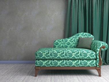 3D interior scene with classic armchair