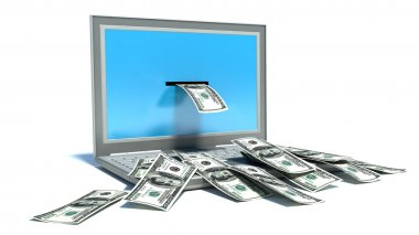 Making money online - withdrawing dollars from laptop