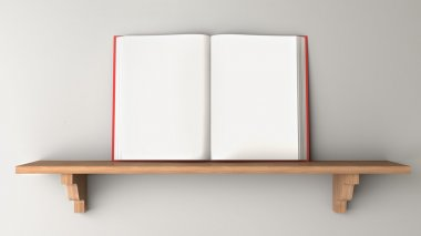 Open book on a wooden shelf