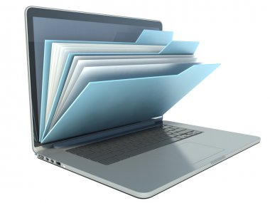 Laptop with blue folders