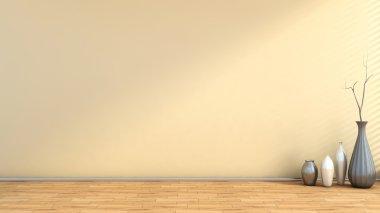 beige empty interior with vase
