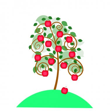 Beautiful apple tree with an apples for your design.