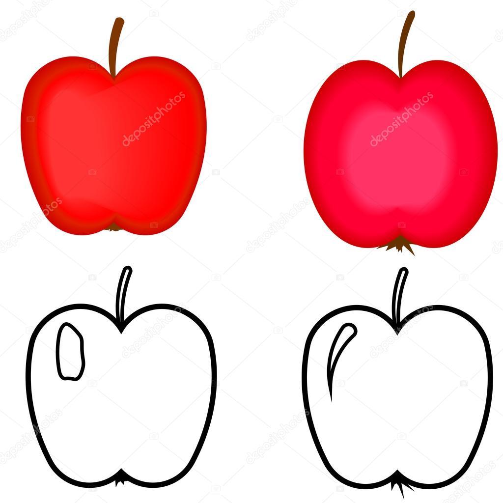 conjunto de manzanas rojas. manzanas para colorear libro — Vector de ...