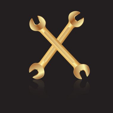 Two gold wrench tools icon. Vector illustration