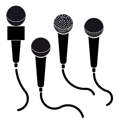 Set of microphones black silhouette vector illustration isolated on white background