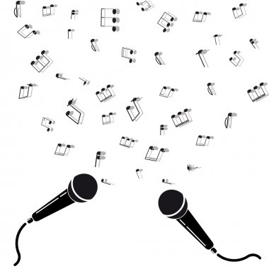 Two microphones black silhouette with notes. A vector illustration isolated on white background