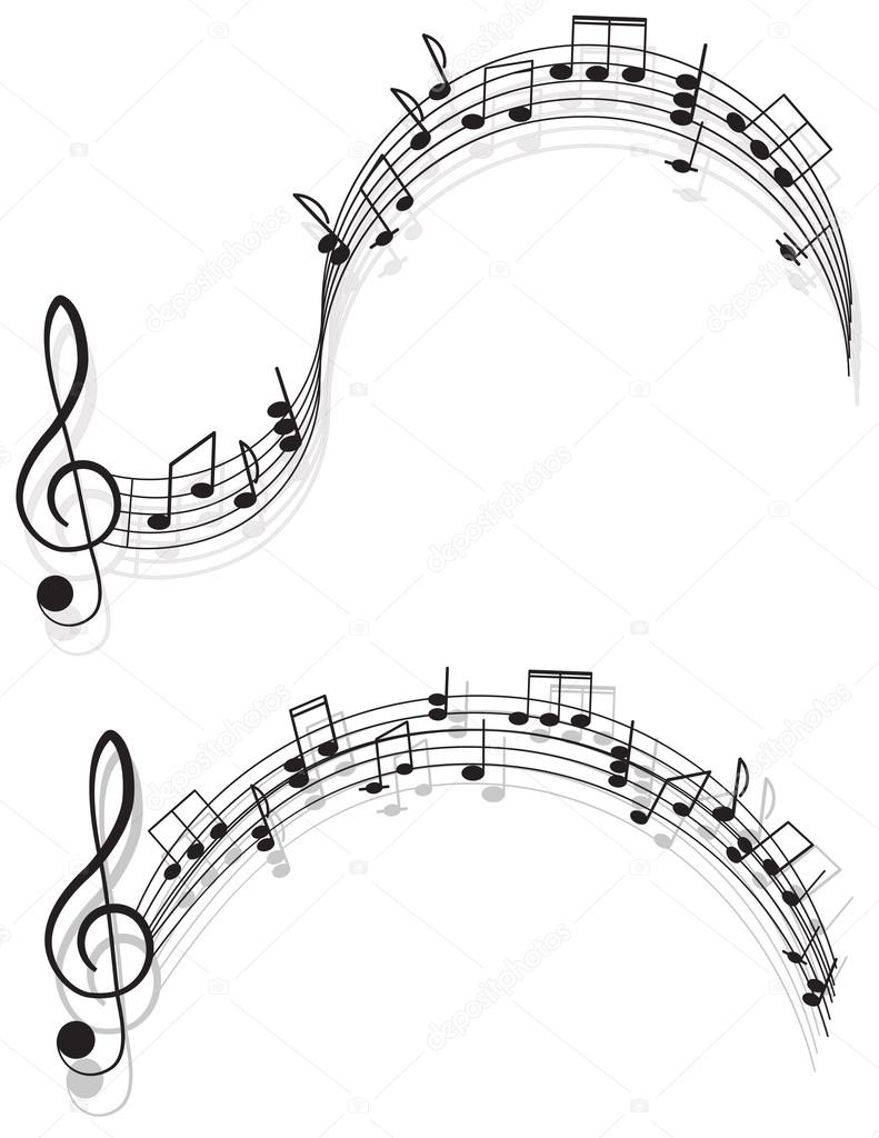 Music. Two treble clefs and notes for your design on a white background.