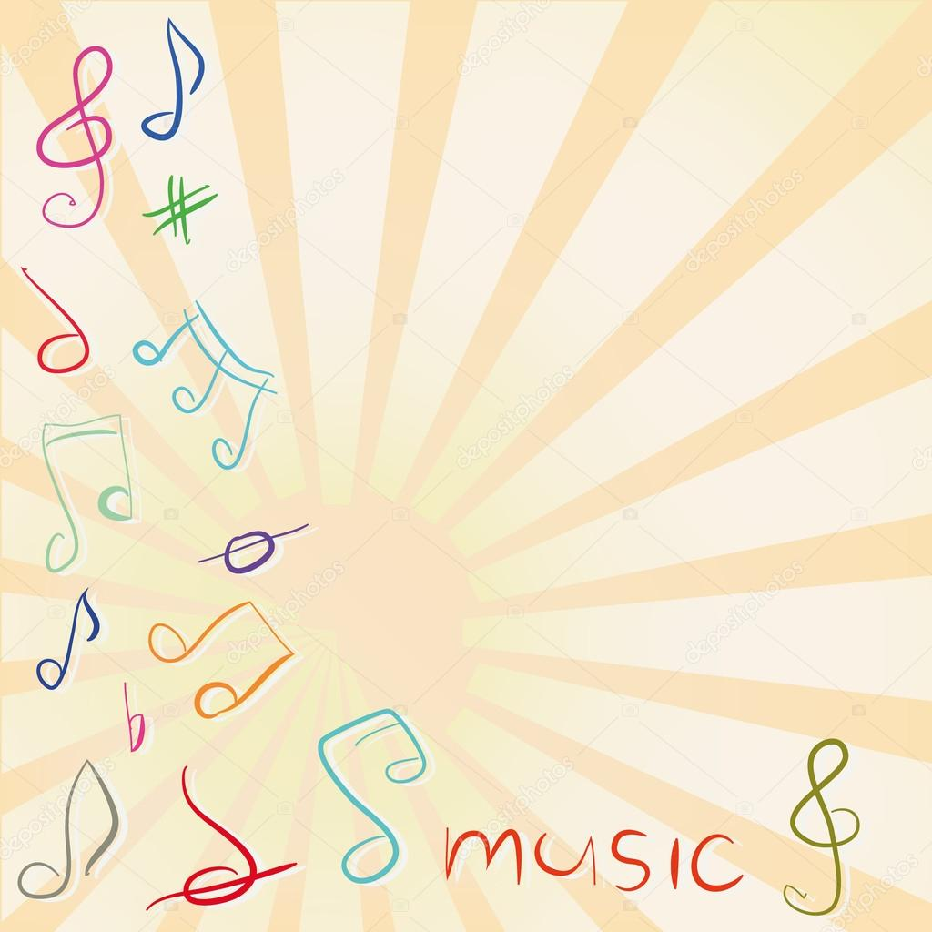 Musical background with treble clef and notes