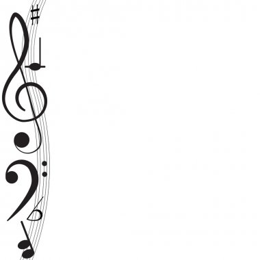 Music. Treble clef and notes for your design on a white background.