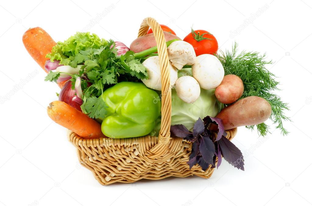 Exceptionnel Basket Of Various Vegetables With Green Bell Pepper, Carrots, Lettuce,  Onions, Garlic, Parsley, Potato, Tomatoes, Cabbage, Dill, Basil And Edible  Mushrooms ...
