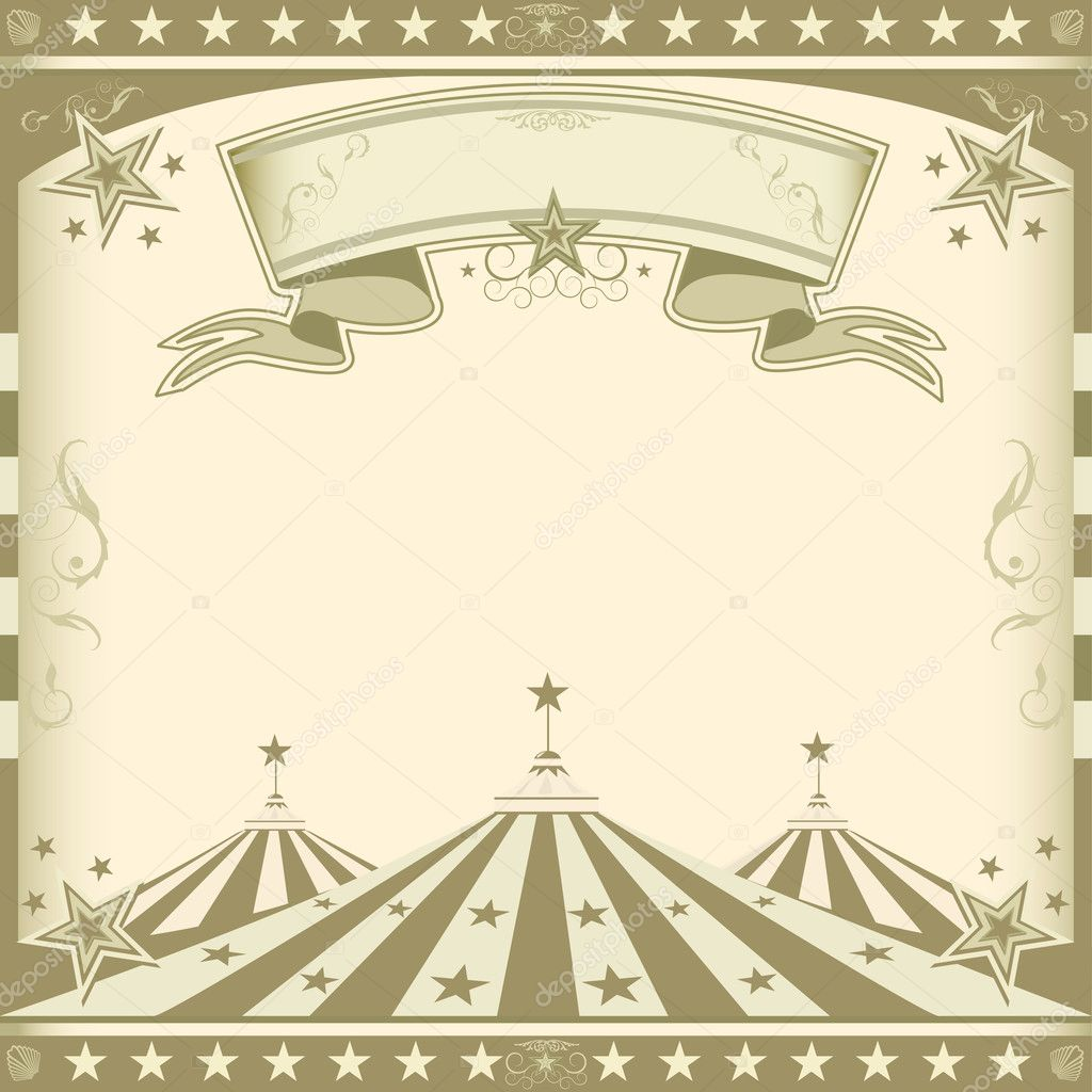 Square brown vintage circus