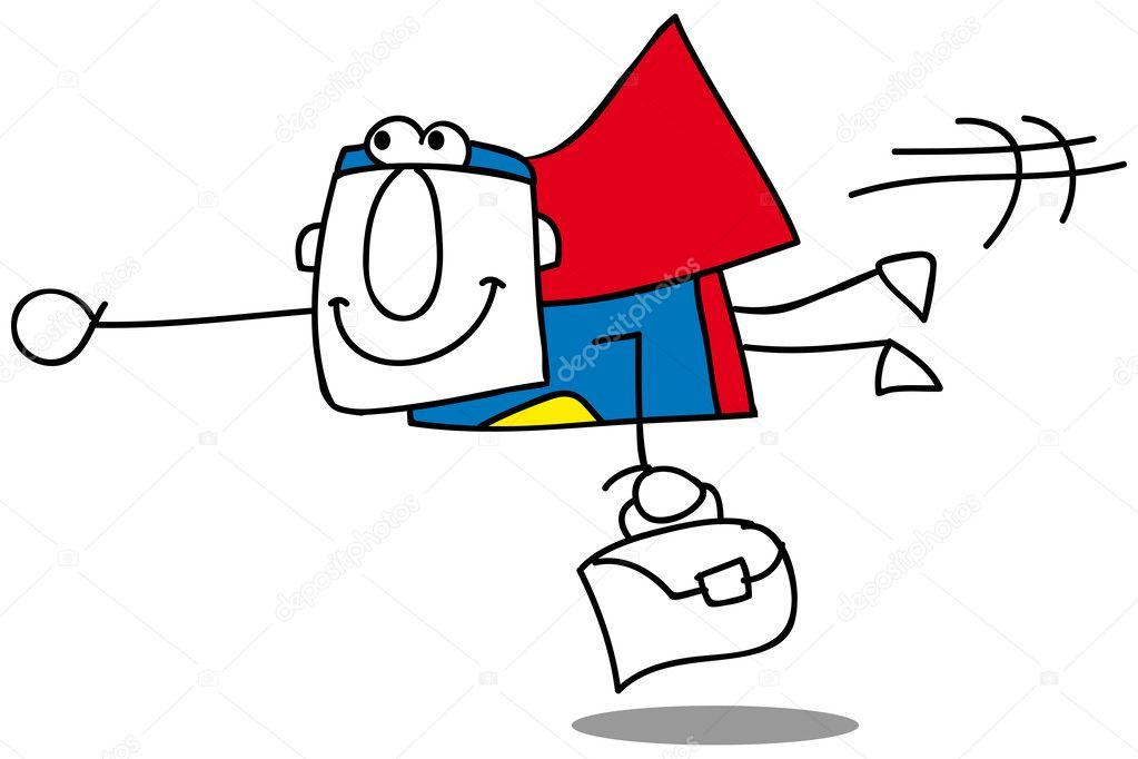mosca negocio súper hombre — Vector de stock © tintin75 #27385135