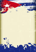 Fotografie Grunge Cuban flag. A poster with a large scratched frame and a grunge cuban flag for your publicity.