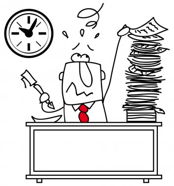 Illustration of a man at work at his desk