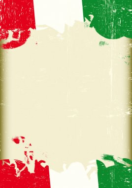 Grunge italian flag. A poster with a large scratched frame and a grunge italian flag for your publicity.