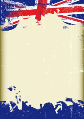 Grunge UK flag. A poster with a large scratched frame and a grunge union jack flag for your publicity.
