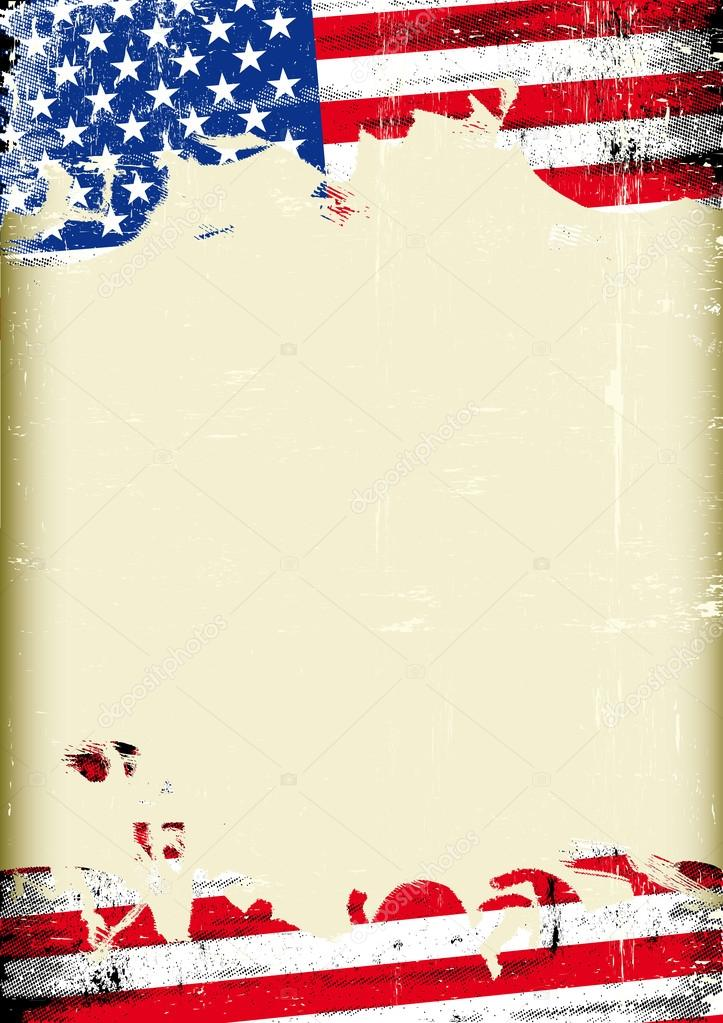 Grunge USA flag. A poster with a large scratched frame and a grunge ...