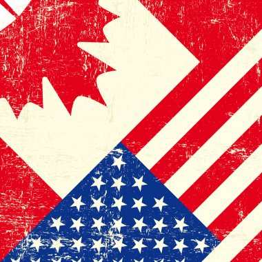 Canadian and american grunge flag