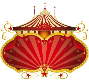 A circus frame with a big top and a large copy space for your message. stock vector