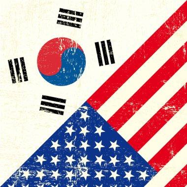 USA and south Korean grunge Flag.