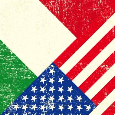 USA and Italian grunge Flag
