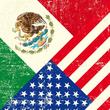 USA and Mexican grunge Flag