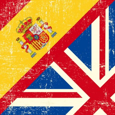 UK and Spanish grunge flag