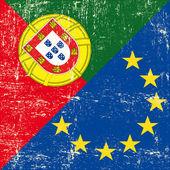 Fényképek Portugál és európai grunge zászló