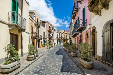 Lipari colorful old town streets