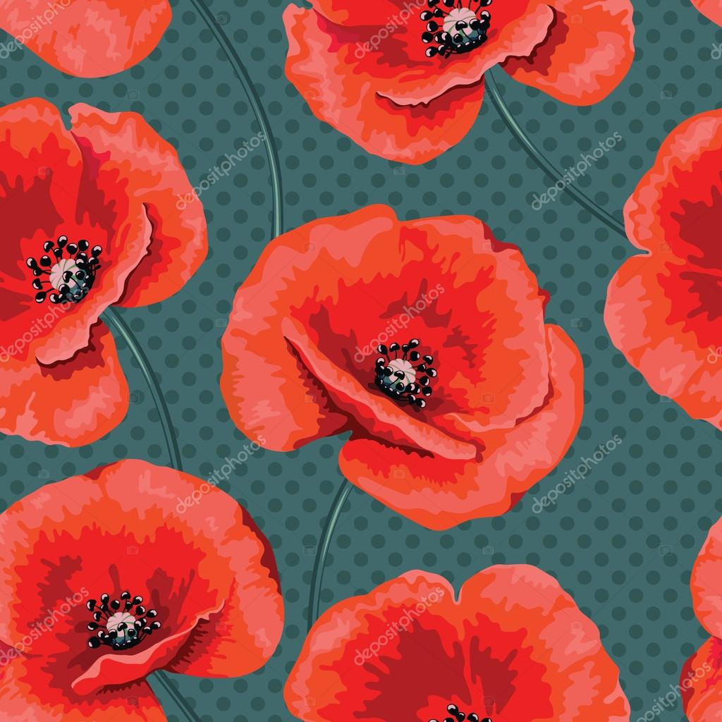 Romantic pattern flower poppies