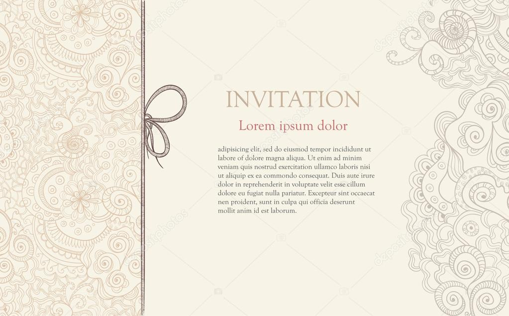 Stylised floral ornament invitation background