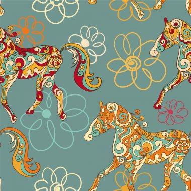 Seamless pattern with running horses and stylized flowers
