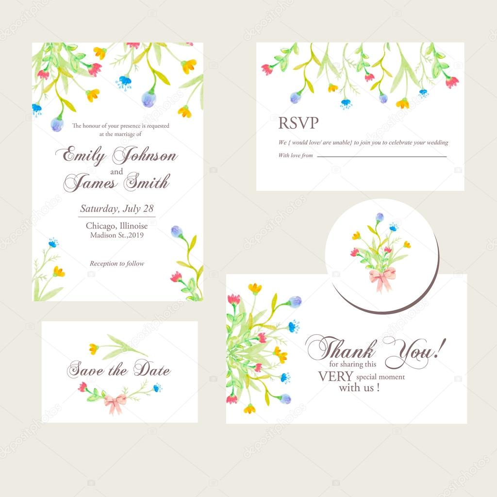 Watercolor flowers wedding invitations set